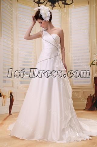 Empire One-Shoulder Floor-Length Chiffon Wedding Dress With Ruffle Flower(s) F-060