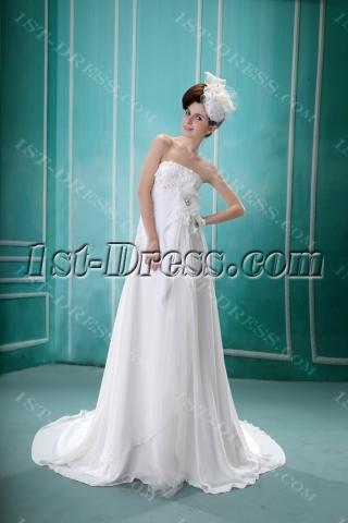 Ivory Strapless Floor-Length Chiffon Maternity Bridal Dress