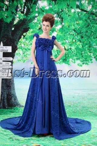 Royal Blue Empire Informal Maternity Wedding Dresses