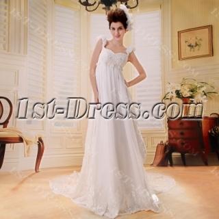 Empire Chiffon Maternity Bridal Dress With Low Back