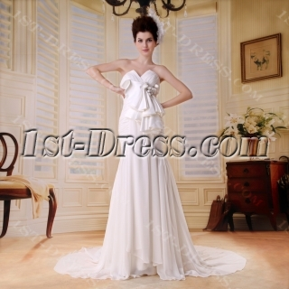Empire Sweetheart Floor-Length Chiffon Wedding Dress With Ruffle Beadwork