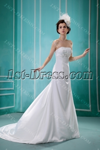 Elegant Simple Maternity Bridal Gown with Train for Spring:1st-dress.com