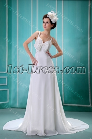 Flowy Straps Floor-Length Chiffon Maternity Wedding Dress for Beach