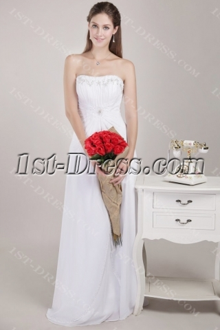 Floor Length Strapless Beaded Beach Bridal Gown