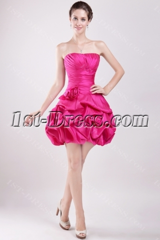 Fuchsia Short 15 Quinceanera Gown Dress with Sweetheart