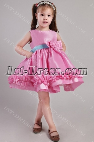 Fuchsia and Blue Flower Girl Dresses by Sweet Beginnings 2364