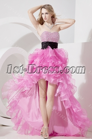 Glamorous Fuchsia High-low Quinceanera Gowns
