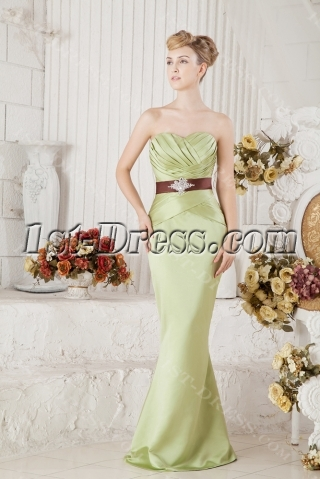 Green Elegant Bridesmaid Dress Modest