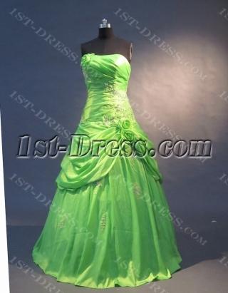Green Strapless Sweetheart Floor-Length Taffeta Quinceanera Dress 1562