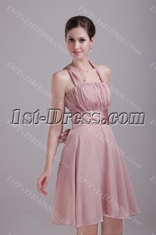 Halter Chiffon Champagne Bridesmaid Gown Discount 1269