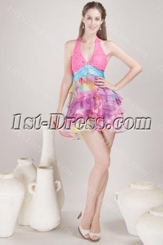 Halter Mini Colorful Homecoming Dress 4485