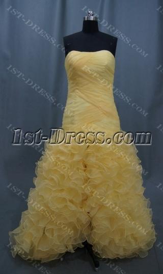 High Low Strapless Short Mini Long Floor-Length Satin Organza Prom Dress 05087