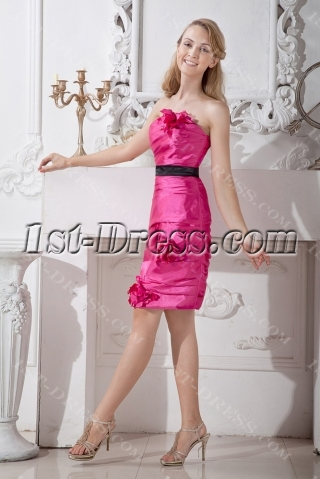 Hot Pink Column Short Homecoming Dress