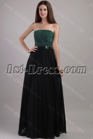 Hunter Green and Black Pleat Beach Bridesmaid Dresses 2174