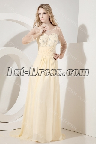 Illusion Long Sleeves Evening Dress for Mother of Groom
