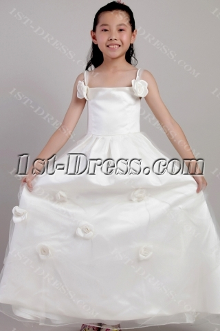 Ivory Beach Wedding Flower Girl Dresses 2059
