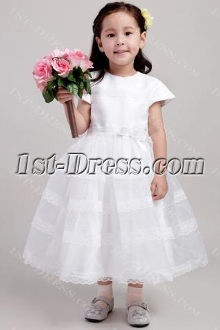 Ivory Dresses for Flower Girl in Wedding with Short Sleeves 1978