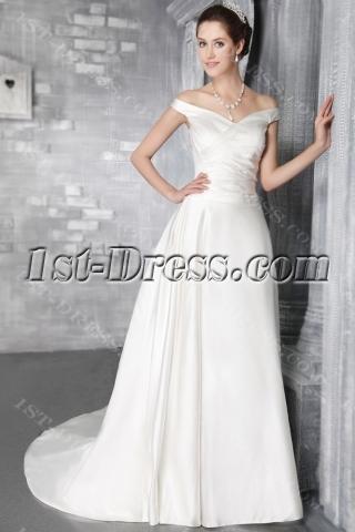 Ivory Off Shoulder Mature Bridal Gown 2842