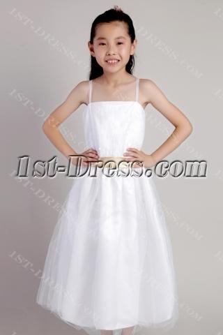 Ivory Spaghetti Straps Flower Girl Dresses for Less 2317