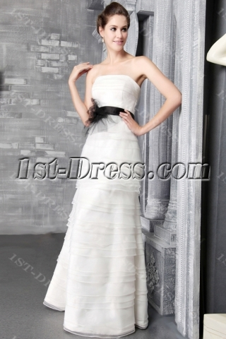 Ivory Strapless Long Garden Wedding Dress 2510