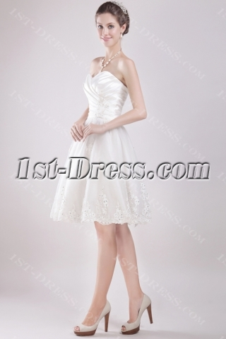Ivory Sweetheart Knee Length Bridal Gowns 2893