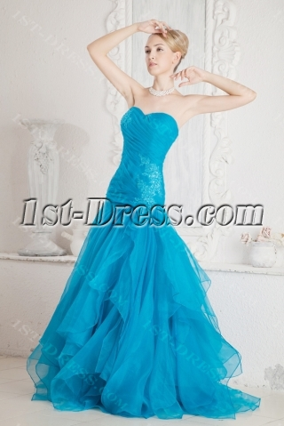 Lovely Teal Quinceanera Gown 2011 with Drop Waist