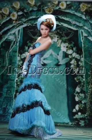 Mermaid / Trumpet One Shoulder Long / Floor-Length Satin Organza Prom Dress Y014