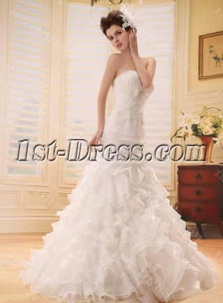 Mermaid Sweep Train Satin Organza Wedding Dress With Lace Beadwork F-123