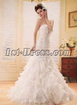 Mermaid Sweep Train Satin Organza Wedding Dress With Lace Beadwork F-123