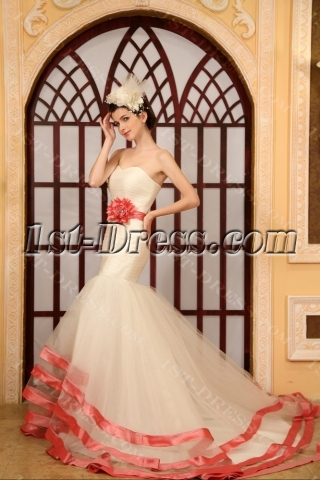 Mermaid Sweetheart Chapel Train Organza Wedding Dress With Sashes Flower(s)