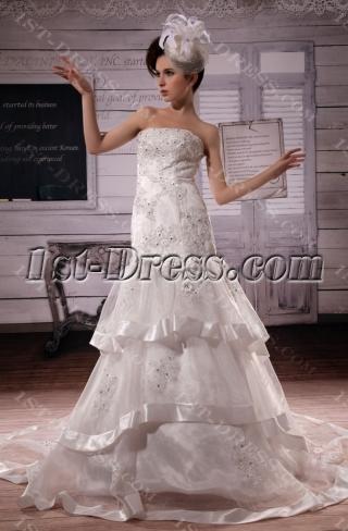 Mermaid Sweetheart Chapel Train Satin Organza  Wedding Dress With Lace