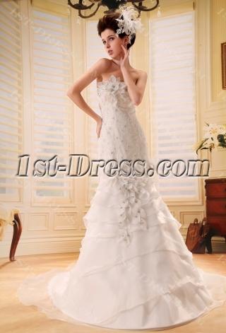 Mermaid Sweetheart Sweep Train Satin Organza Wedding Dress With Lace Beadwork F-120