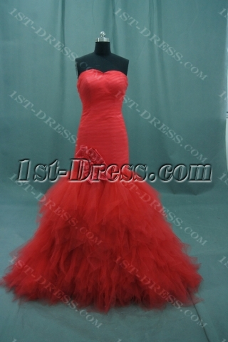 Mermaid Trumpet Strapless Long Floor-Length Satin Tulle Bridal Gowns 05883