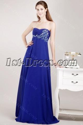 Navy Chiffon Pregnancy Prom Dress for Plus Size Women