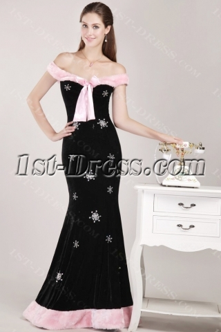 Off Shoulder Black Velvet Christmas Party Dress