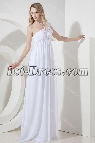 One Shoulder Maternity Wedding Dress with Flowers
