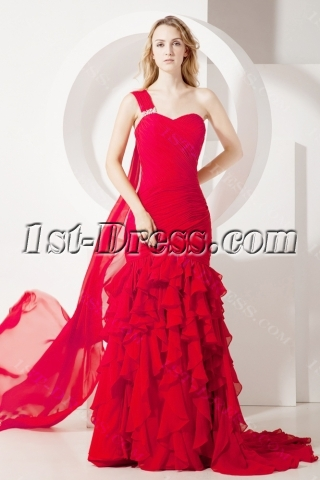 One Shoulder Red Chiffon Mermaid Celebrity Gown