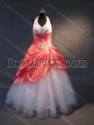 Orange And White Floor-Length Taffeta Tulle Quinceanera Dress 1513
