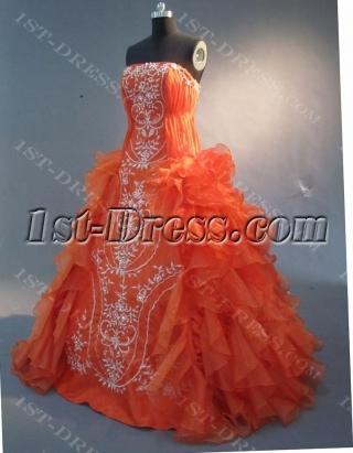 Orange Floor-Length Satin Organza Quinceanera Dress 1754
