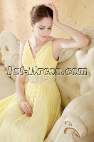 Perfect Yellow Prom Dresses Cheap V-neckline