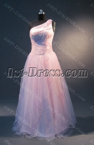 Pink A-Line Floor-Length Satin Tulle Prom Dress 1857