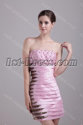 Pink Graduation Dress with Leopard 1243