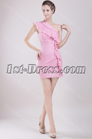 Pink Mini Homecoming Dress with One Shoulder