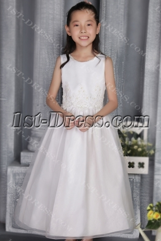 Pretty Off White Girl Party Gown 2708