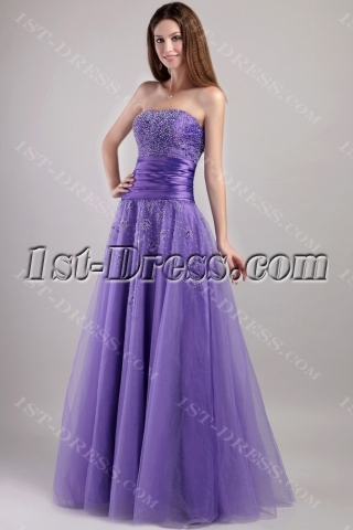 Pretty Purple Long Military Ball Gown 2068