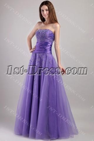 Pretty Purple Long Military Ball Gown 2068