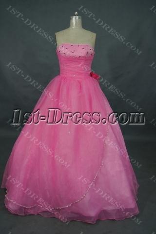 Princess Strapless Floor-Length Organza Cheap Quinceanera Dress 01503