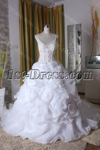 Princess Strapless Long / Floor-Length Satin  Organza 2013 Bridal Gowns 5310
