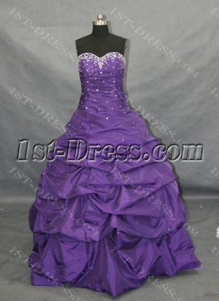 Purple A-Line Strapless Sweetheart Taffeta Plus Size Quinceanera Dress 00117