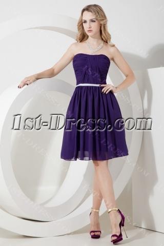 Purple Chiffon Short Beach Bridesmaid Dress